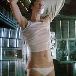 Sigourney Weaver strips in 1979's Alien.