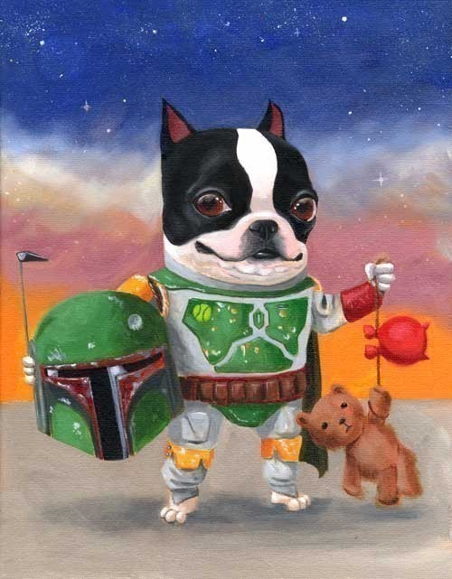 Super Cute Paintings Of Dogs Dressed As Star Wars Characters Giant
