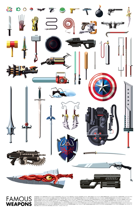famous weapons poster has proton packs portal guns and more giant freakin robotgiant freakin