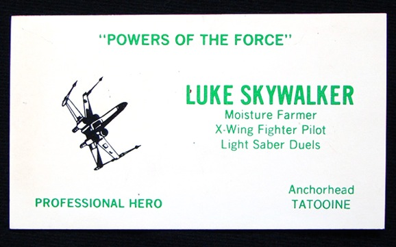 Even jedi need to network star wars business cards giant freakin lukes is a good example of using a business card colourmoves