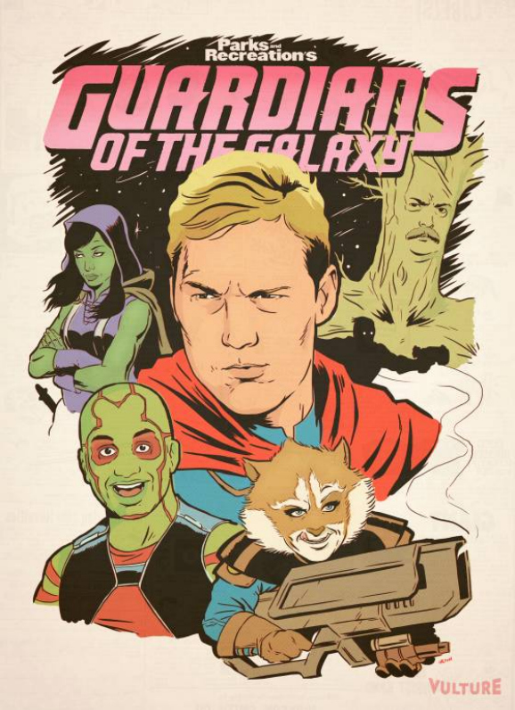 Guardians Of The Galaxy Parks Recreation Mash Up Poster