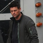 "Minka Kelly and Karl Urban on the set of the new JJ Abrams pilot ""Human"" in Vancouver"