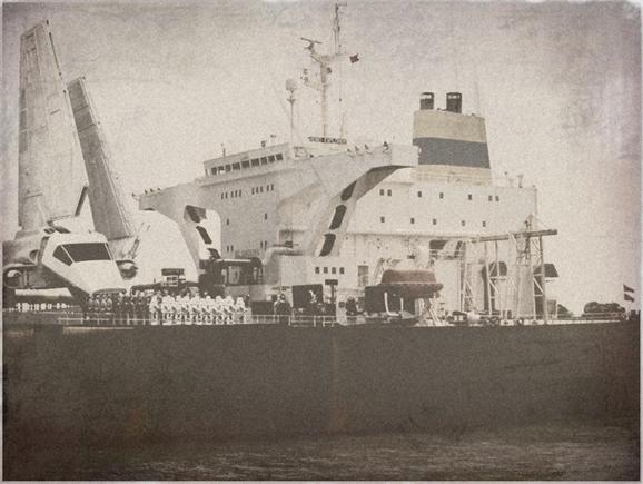 Shuttle on a carrier deck
