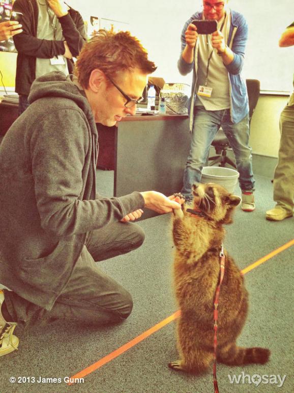 James Gunn with real raccoon