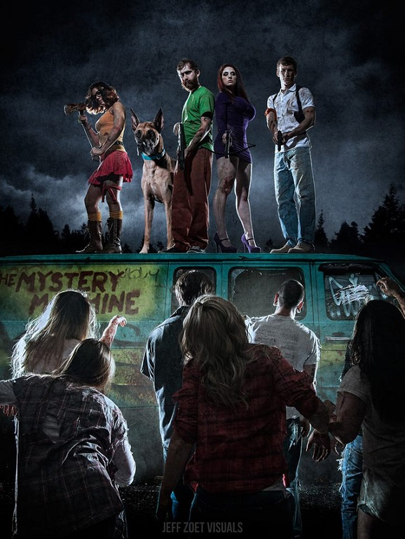 scooby gang walking dead on van