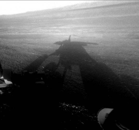 Opportunity's shadow at Endeavor Crater
