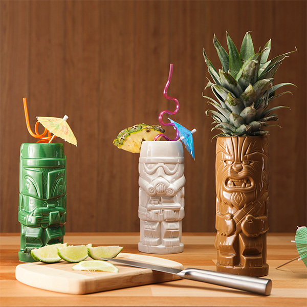 star wars tiki mugs in use