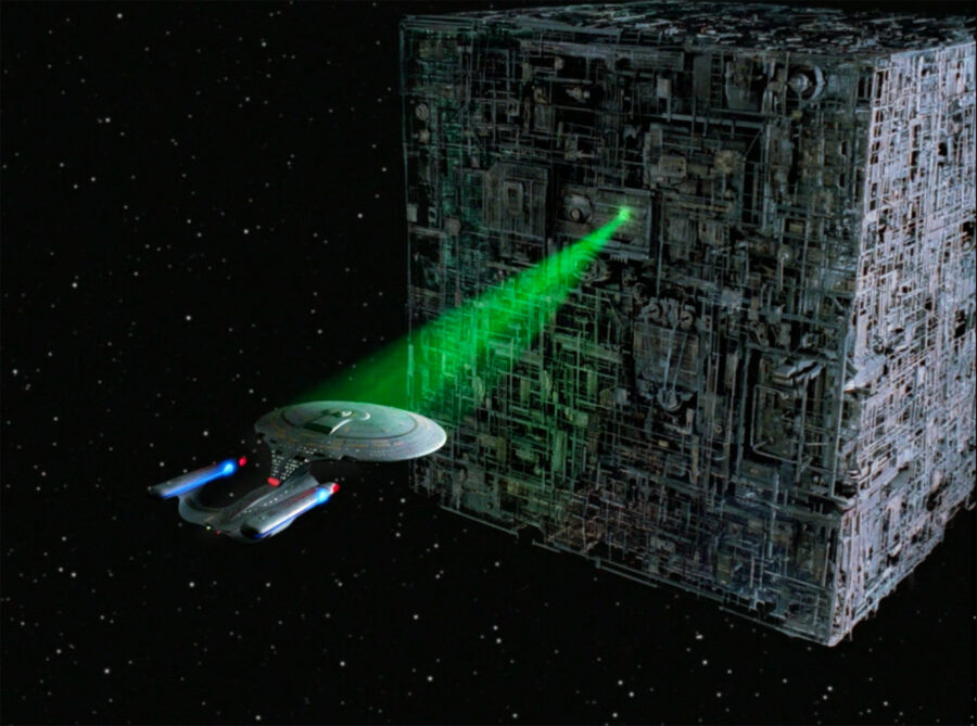 Enterprise and Borg Cube