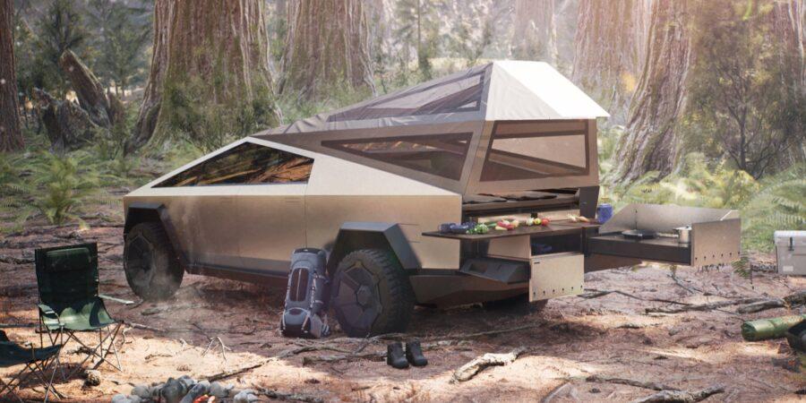 Tesla truck camping