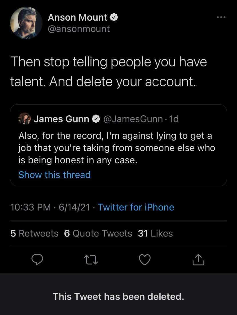 anson mount james gunn twitter